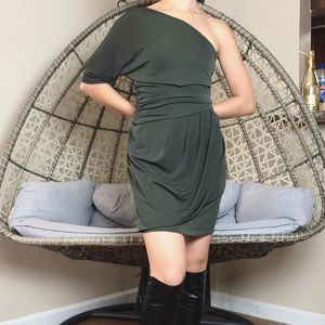 Vince Camuto One Shoulder Mini Dress - Olive